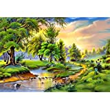 Color Romantica Color Peaceful Colors Painting Water Nature Scene Beautiful Forest Lovely River Romance Pretty Landscape Wallpaper Print Poster On 13x19 Inches