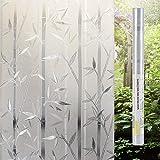 Lemon Cloud 3D sichtschutz Folie Fenster 45x200 Folie Fenster milchglas für Office Home Dekoration und Schutz der privatsphäre (45cmx200cm Bambus)
