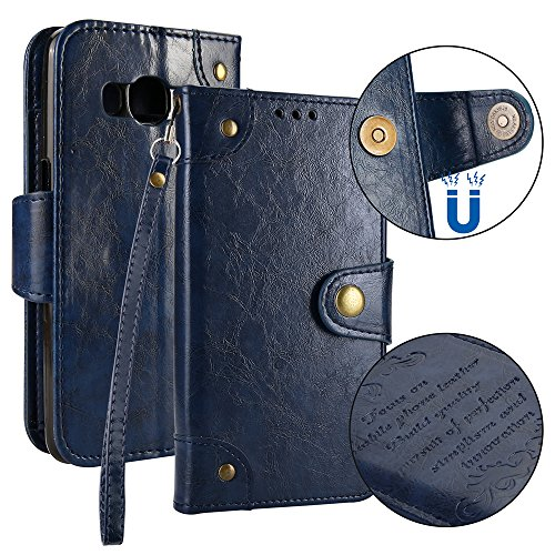Samsung Galaxy J5 (2016) J510 Case,[ Shock Absorbent ] Backcover PU Leather Kickstand Wallet Cover Durable Flip Case for Samsung Galaxy J5 (2016) J510 Blue