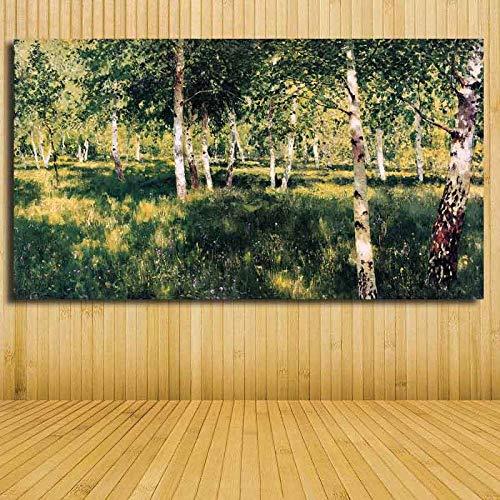 YUANOMWJ Malerei Auf Leinwand,Schöne Birkenwald Landschaft Bäume Pflanzen,Leinwand Malerei Wandkunst Poster Drucke Kein Rahmen Bilder Wohnzimmer Dekoration,40X80Cm(16X32Zoll)