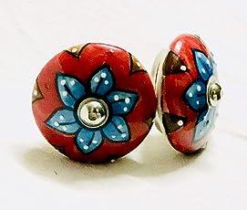 Shriyam Craft Set of 2 Door Drawers Knobs in Ceramic Blue Pottery (ABP 007)