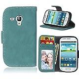 KANTAS Brieftasche Flip Case für Samsung Galaxy S3 Mini Blau PU Leder Handyhülle Case Matt Oberfläche Taschenhülle Wallet Ledertasche mit Magnetverschluss Standfunktion Geldbeutel Schutzhülle für Samsung Galaxy S3 Mini