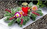 GKA Grableger Grabschmuck mit LED-Kerze Grablicht Friedhof Totensonntag Grab Urnengrab Winter Schmuck 30 cm Beeren Zweige Blumen