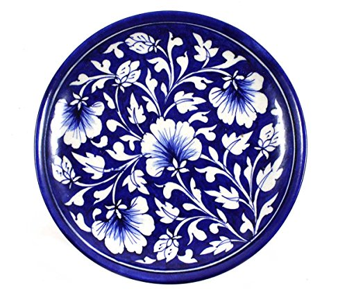 Blue Pottery Ceramic Serving Plate/Decorative Wall Plate/Wall Hanging Plate/Handmade & Hand Decorated...