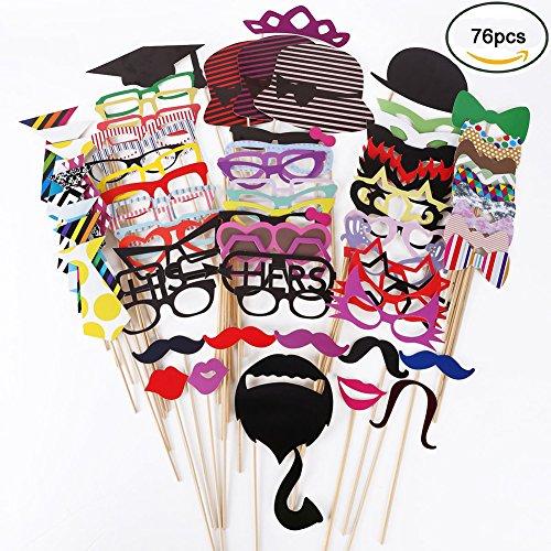 Galleria fotografica AZLife Kit fai da te di maschere per foto, con bastoncino, accessori per foto e decorazioni per compleanno, laurea, matrimonio, addio al nubilato, eventi in famiglia, confezione da 76