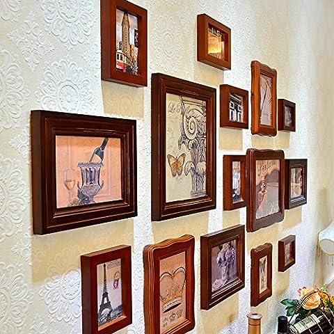 X&L Foto madera sólida pared marco pared continental retro living comedor americano combinación de marcos de fotos creativas