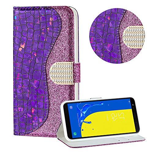 Diamant Brieftasche Hülle für Galaxy J6 2018,Lila Wallet Handyhülle für Galaxy J6 2018,Moiky Ultra Dünn Stilvoll Laser Glitzer Farbe Block Klappbar Stand Silikon Handytasche