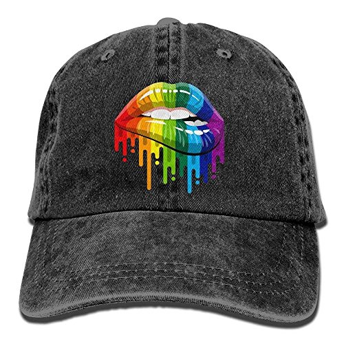 Miedhki Gay Homosexual Lesbian Rainbow Lips Pride Vintage Washed Dyed Cotton Twill Low Profile Adjustable Baseball Deckel Black Design13 -