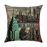 Hengjiang vintage City Série London Pisa New York Paris Rome Home Taie d'oreiller Lit en coton Lin Taie d'oreiller carré Coussin rétro double face