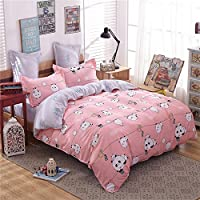 Zhiyuan Panda Pattern Pink and Light Grey Duvet Cover Flat Sheet Pillowcases Set
