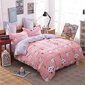 Zhiyuan Panda Pattern Pink and Light Grey Duvet Cover Flat Sheet Pillowcases Set