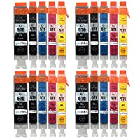 4 Go Inks Set of 5 Ink Cartridges to replace Canon PGI-570 and CLI-571 Compatible/non-OEM for PIXMA Printers (20 Pack)