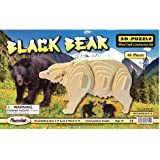 Desconcertado 1315 Negro oso 3D de madera natural Puzzle - 46 Piezas