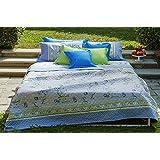 Bassetti Granfoulard.- Colcha copriletto Acanthus V3 azul para cama de 150, en medida 240 x 255 cm