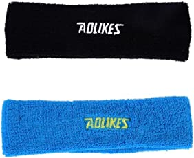 AGE CARE High Quality Cotton Sweat Band - Outdoor Sport Headband (Blue and Black).