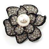 Avalaya, spilla a forma di fiore con perla sintetica e cristalli finti, colore nero e argento, per la sposa