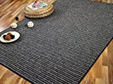 Marta Streifenberber Teppich Anthrazit Grau Streifen in 24 Größen
