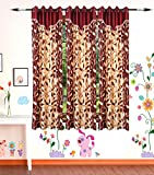 Gaurav Curtains Polyester Multicolor Designer 5x4 Feet Window Curtains (Pack of 3)