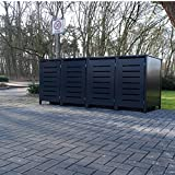 4 Mülltonnenboxen Modell No.6 für 240 Liter Mülltonnen / komplett Anthrazit RAL 7016 / witterungsbeständig durch Pulverbeschichtung / mit Klappdeckel und Fronttür