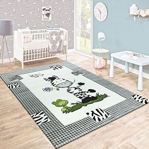 Paco Home Kinderteppich Kinderzimmer Konturenschnitt Süßes Zebra Kariert Creme Grau, Grösse:80x150 cm
