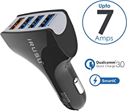 Irusu 7.0 Amp 4 Port USB Car Charger Fast Charging with Qualcomm Quick Charger QC 3.0 for Apple and Android Devices.