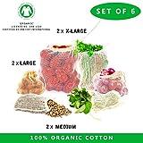 Sacs filet réutilisables-Lot de 6 sacs en coton réutilisable sacs en coton et en lin Sac certifiés GOTS avec sacs à cordonnet (Lot de 6 - Sacs filet moyen, grand, Large)