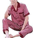 Mens Pyjama Set, Silk Long Sleeve Top & Bottom Nightwear Loungewear, 7, XXL