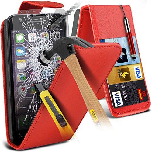 Aventus ( Red ) Apple iPhone 6 Plus Case Custom Made Custom Made magnétique flip couverture en cuir avec la peau Card Slot Housse + verre trempé avec Chiffon & Stylus écran tactile Pen Leather Flip + Tempered ( Red )