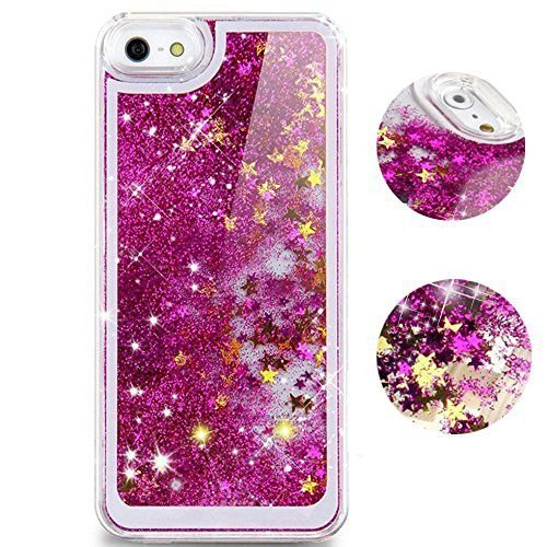 Aeoss iPhone 6 plus 3D Glitter Bling Star Waterfall Novelty Back Cover Case For iPhone 6 Plus (Pink)