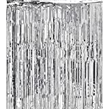 Adorox Metallic Silver Foil Fringe Curtains Party Wedding Event Decoration (Metallic Silver)