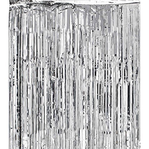 Metallic Silver Foil Fringe Shiny Curtains for Party, Prom, Birthday, Event Decorations 3 ft x 8 ft (1 Curtain) by Super Z Outlet by Super Z Outlet -