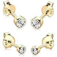 bronze Ohrringe oder Ohrstecker mit kleinen Margeriten Bl/üten in wei/ß t/ürkis Vintage