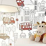Tapete Kinderzimmer Autos Bus LKW Stadt | schöne rot anthrazit farbene niedliche Tapete für Jungen und Mädchen | inklusive der Newroom Tapezier Profi Broschüre, mit super Tipps zum Tapezieren!