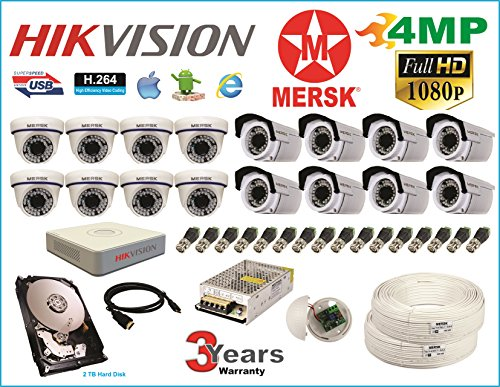 Hikvision 16 Ch Turbo HD Dvr and Mersk Full HD (4MP) CCTV Camera Kit with All Required Accessories (2 TB Hard Disk) Note : No Installation Service