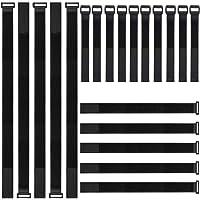 ZoneYan Attache Cable,kitteny Lot de 20-Noir-avec Crochet et Boucle Attache-câble en réutilisables Sangles 3 Tailles 20…