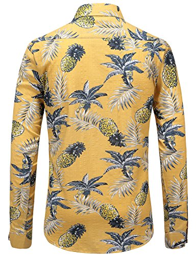 JEETOO Herren Ananas Shirts Hawaiian Style Hemd Drucken Urlaub Button Down Kurzarm/Langarm Slim Fit Freizeit Hemd Sommer Casual in Den Größen S-3XL Gelb