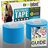 Pre Cut Kinesiology Tape - Pre-Cut Sport Tapes Strapping For Muscle Sports Support | Pro 5m Medical Roll No Label H20 20 x Precut Waterproof Athletic Physio Muscles Strips | FREE PDF Ebook Taping Guide (Blue, 2 x Pack)