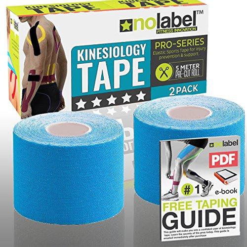 Kinesiologie Tape Vorgeschnitten Blau | Physio Tape | Body Tape | Sportstape | 5m 25cm x 5 cm Patches | Schutz + Schnelle Regeneration In Schulter Nacken Rücken Knie Knöchel & Ellenbogen | Latexfrei