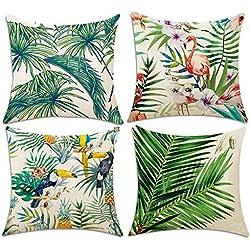 4 Pack Fundas de Cojín, Hotipine Algodón Lino - 45 x 45 cm - Flamencos y Palm Leaf