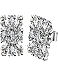 JewelleryClub Pendientes De Plateado Plata De Cristal Swarovski Elements Cuadrado de la Flor de la Mujer