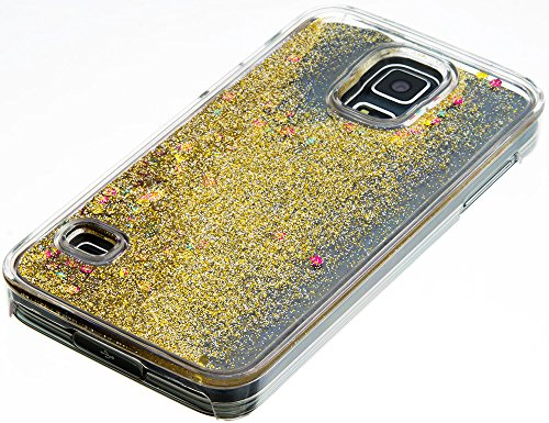 Nnopbeclik Transparent PC Hülle Für Apple Iphone SE 5S 5, Durchsichtig Ultra Slim PC Hard BackCover Case Creative Flüssiger Sequins Diamant 3D Bling Bling Blume Case Etui, Schutzhülle Muster Glänzend  Golden