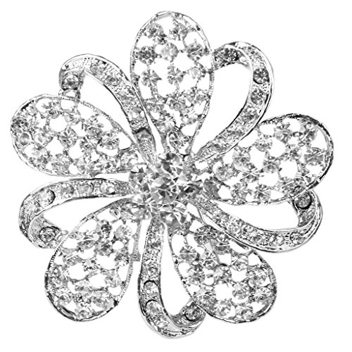 Broche Alfiler Pin Diamante Brillante Cristal Floral Para Baile De Bod