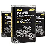 MANNOL 3 x 1L 7808 V-Twin for Harley-Davidson 20W-50 API SM/4-Takt Motoroel JASO MA2