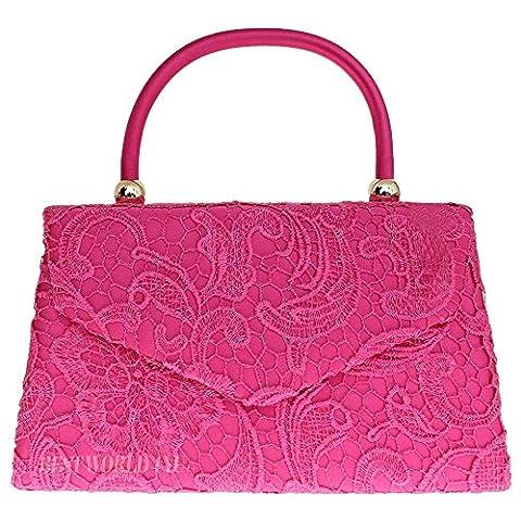 Wocharm (TM) Women's Satin Floral Lace Clutch Bag Evening Bridal Party Wedding Fashion Prom Bag Vintage UK (1# Handbag Hot Pink)