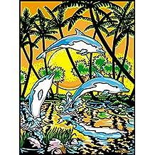 LAMINA PARA COLOREAR con caja de rotuladores. Delfines con palmeras
