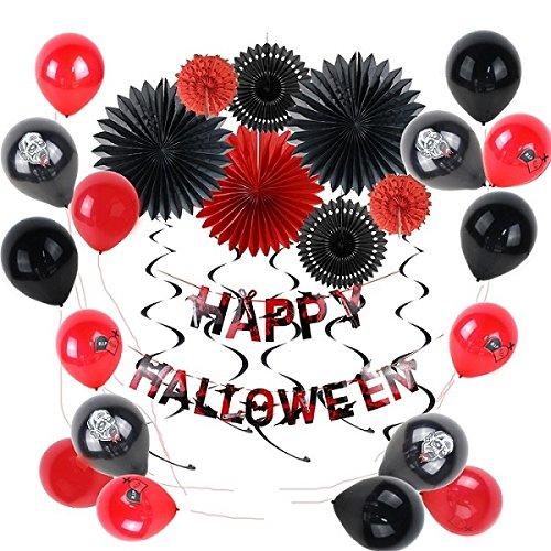 Sunbeauty Halloween Decoración Horror Fiesta Accessories Puertas de Pared Decoraciónes Globos de Halloween con Papel de Linterna Abanicos Decorativo, Negro y Rojo