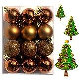 DI-LIFESTYLE (WKG04) Weihnachtskugeln Christbaumkugeln Baumschmuck Weihnachtsbaumschmuck Deko 24er 60mm (Bronze)