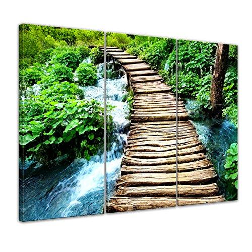Bilderdepot24 Kunstdruck - Brücke über einen Fluß - Bild auf Leinwand - 120x80 cm dreiteilig - Leinwandbilder - Bilder als Leinwanddruck - Wandbild
