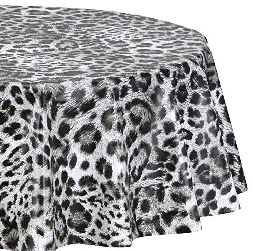abwischbar, Wachstuch OVAL RUND ECKIG, Farbe und Größe wählbar (Eckig 140x260 cm Leopard Prägung) ()