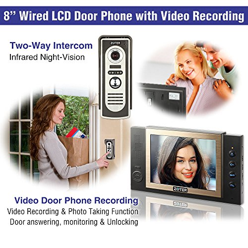 "Generic 8"" inch Color LCD Video Door Phone Doorbell Home Entry Intercom System 3 Monitor 1 Metal Camera with SD Recording Night Vision 801 (Black)"